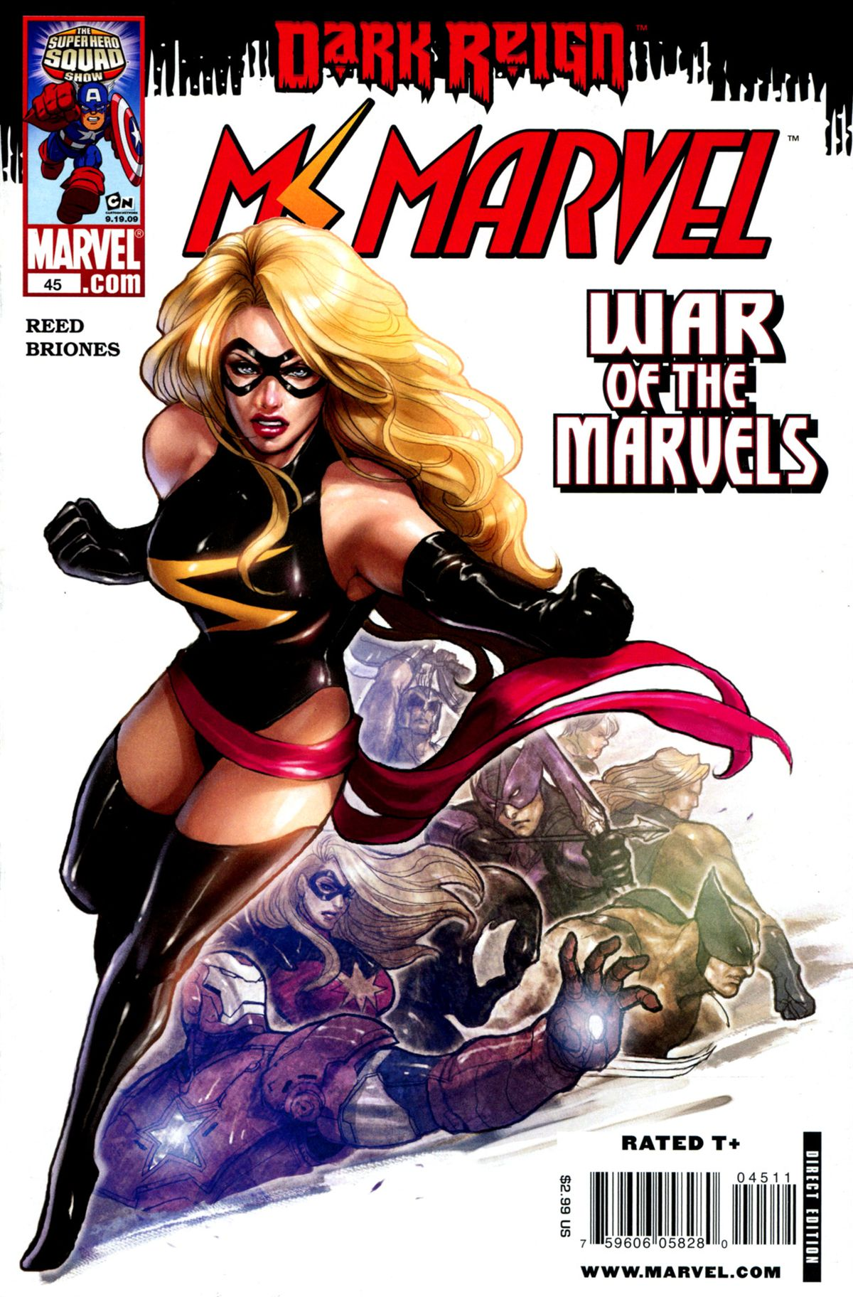 The cover of Ms. Marvel #45, Marvel Comics (2009).